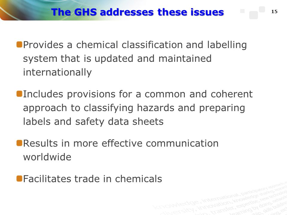 The GHS addresses these issues