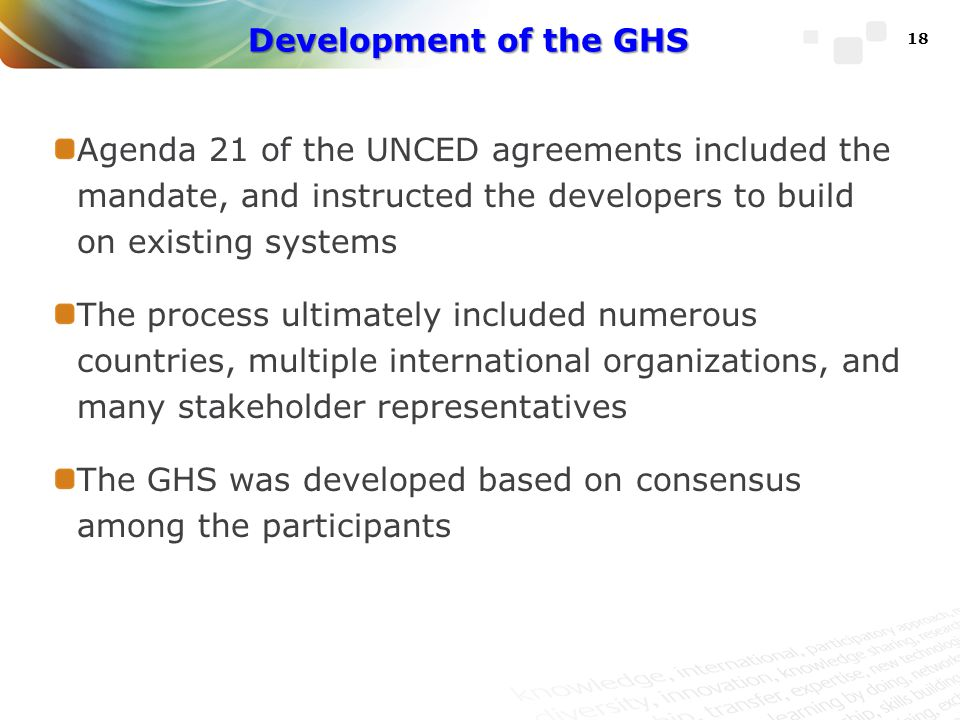 Development of the GHS Agenda 21 of the UNCED agreements included the mandate, and instructed the developers to build on existing systems.