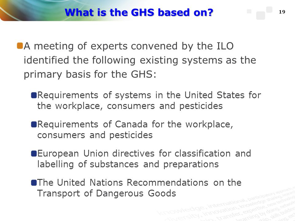 What is the GHS based on A meeting of experts convened by the ILO identified the following existing systems as the primary basis for the GHS: