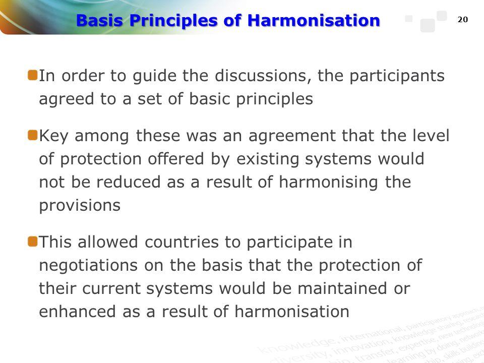 Basis Principles of Harmonisation