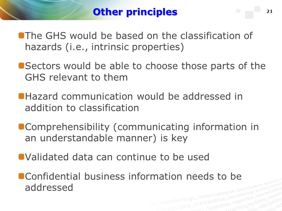 Hazard communication would be addressed in addition to classification