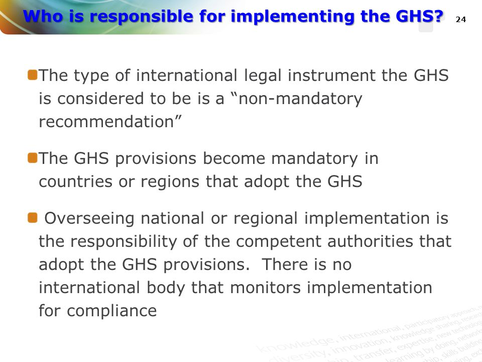 Who is responsible for implementing the GHS