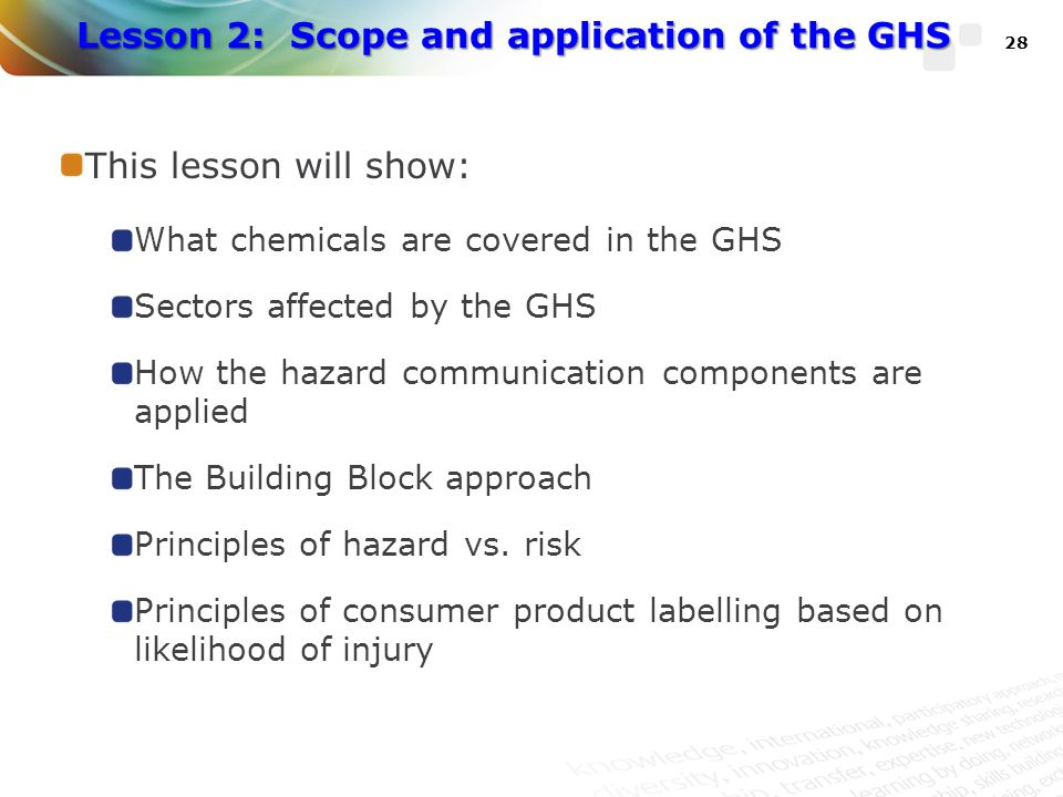 Lesson 2: Scope and application of the GHS