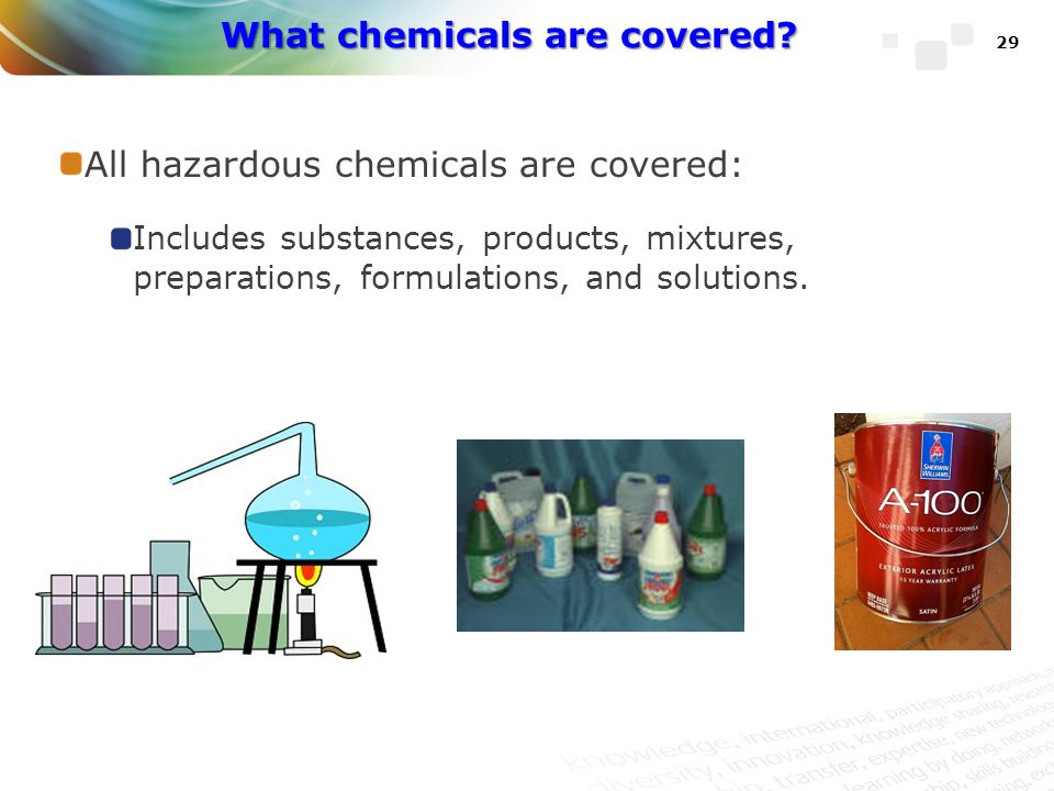 What chemicals are covered
