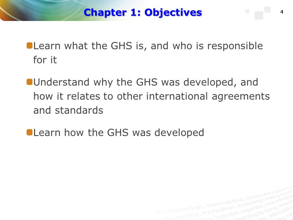 Chapter 1: Objectives Learn what the GHS is, and who is responsible for it.