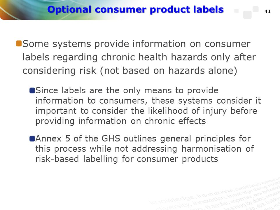 Optional consumer product labels