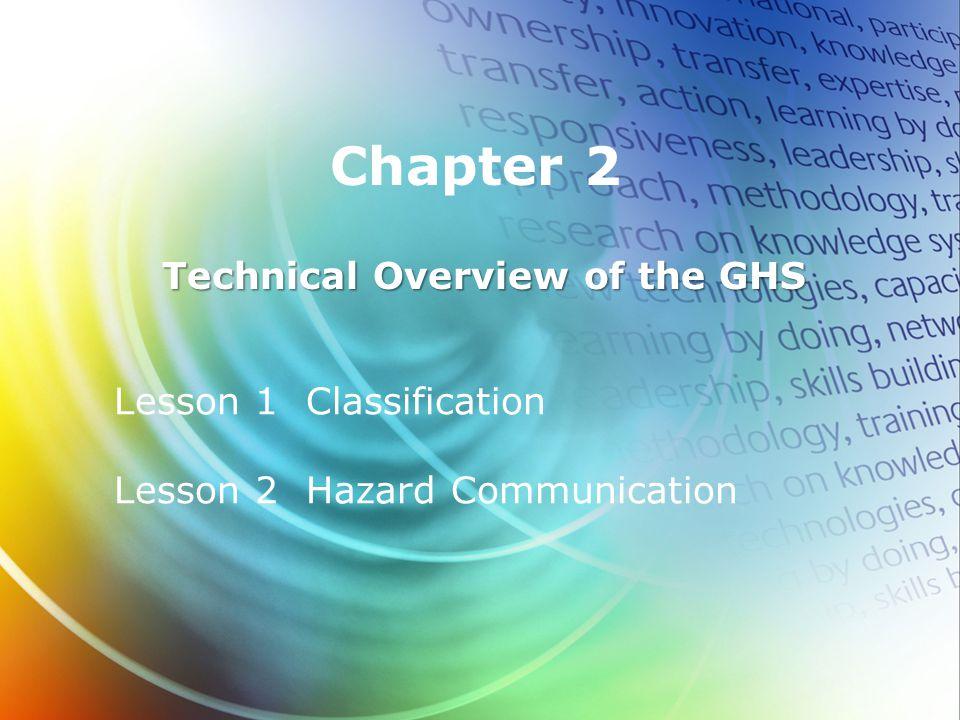 Lesson 1 Classification Lesson 2 Hazard Communication