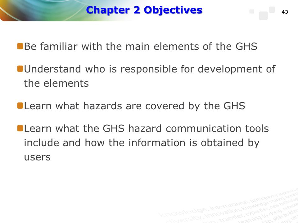 Chapter 2 Objectives Be familiar with the main elements of the GHS. Understand who is responsible for development of the elements.