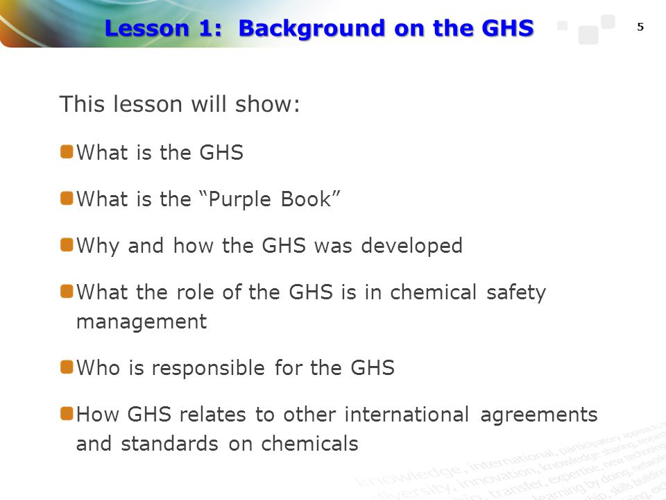Lesson 1: Background on the GHS
