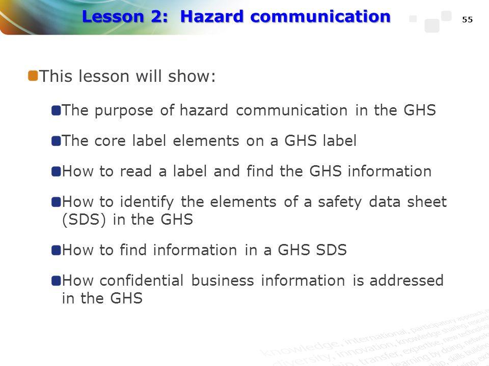 Lesson 2: Hazard communication