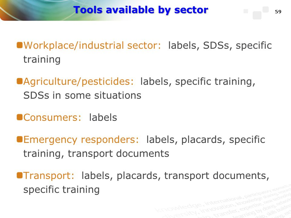 Tools available by sector