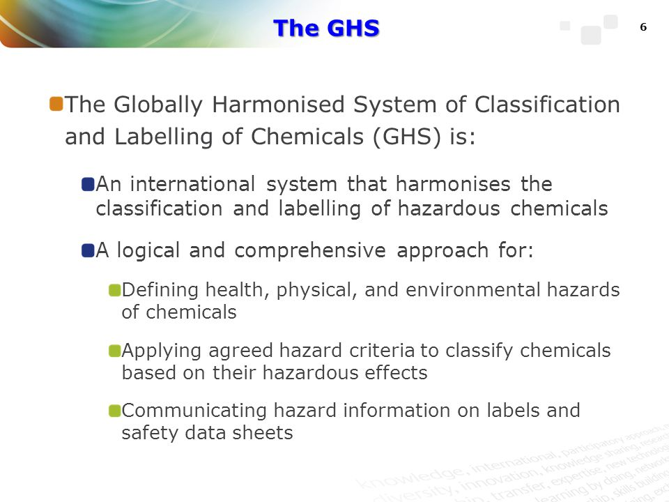 The GHS The Globally Harmonised System of Classification and Labelling of Chemicals (GHS) is: