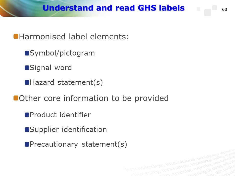 Understand and read GHS labels