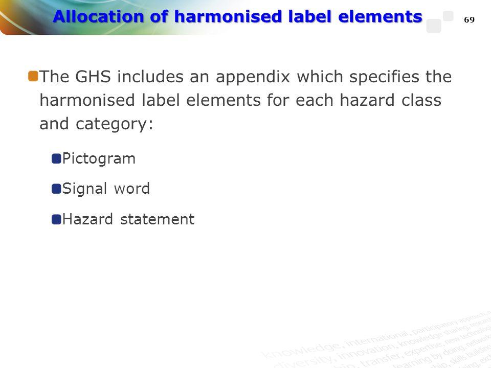 Allocation of harmonised label elements