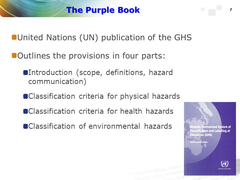 United Nations (UN) publication of the GHS