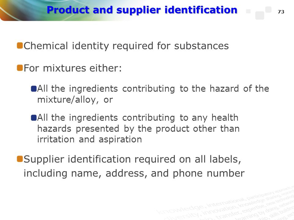 Product and supplier identification