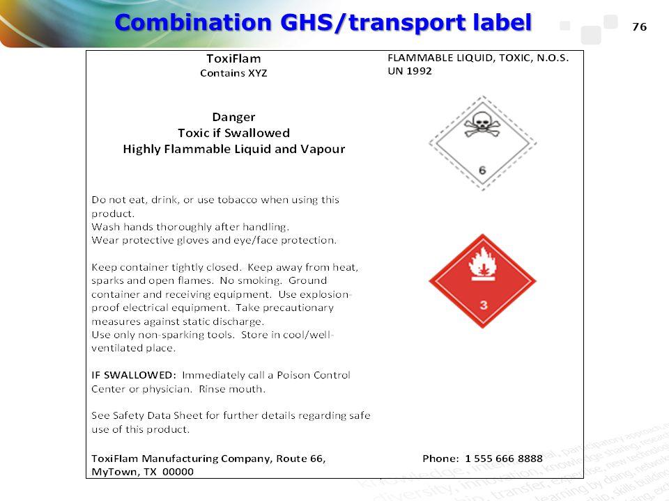 Combination GHS/transport label