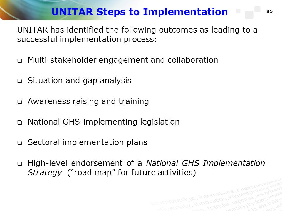 UNITAR Steps to Implementation