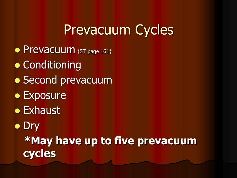 Prevacuum Cycles Prevacuum (ST page 161) Conditioning Second prevacuum