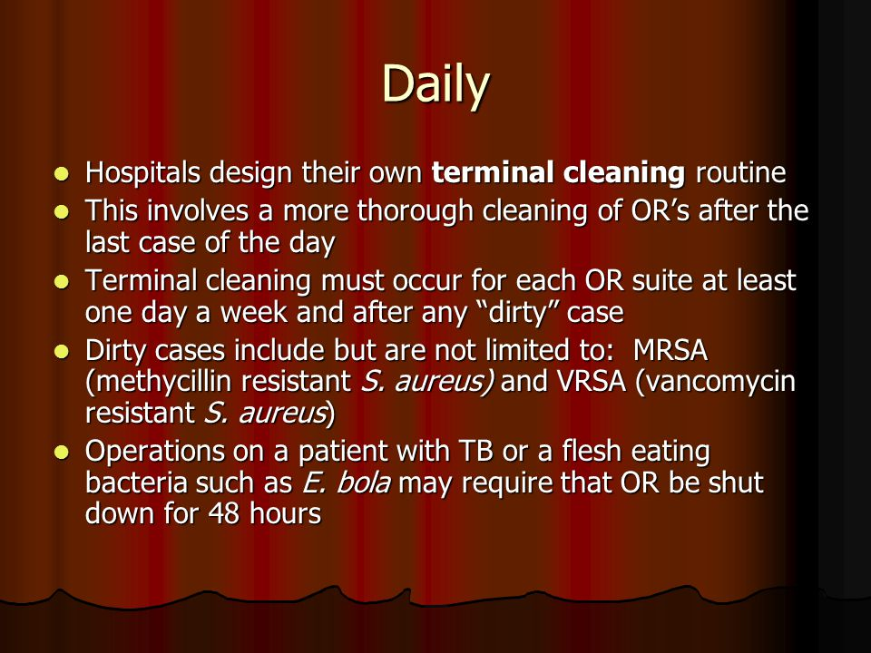 Daily Hospitals design their own terminal cleaning routine