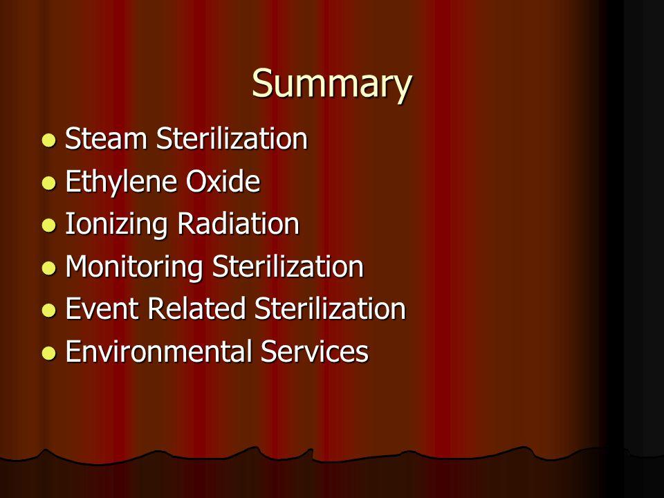 Summary Steam Sterilization Ethylene Oxide Ionizing Radiation