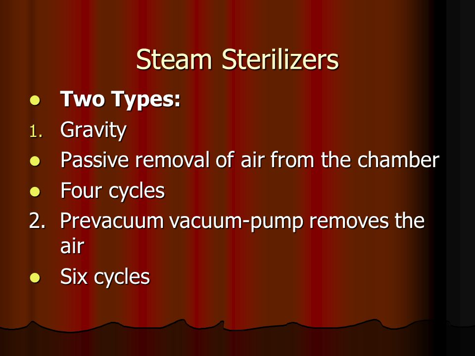 Steam Sterilizers Two Types: Gravity