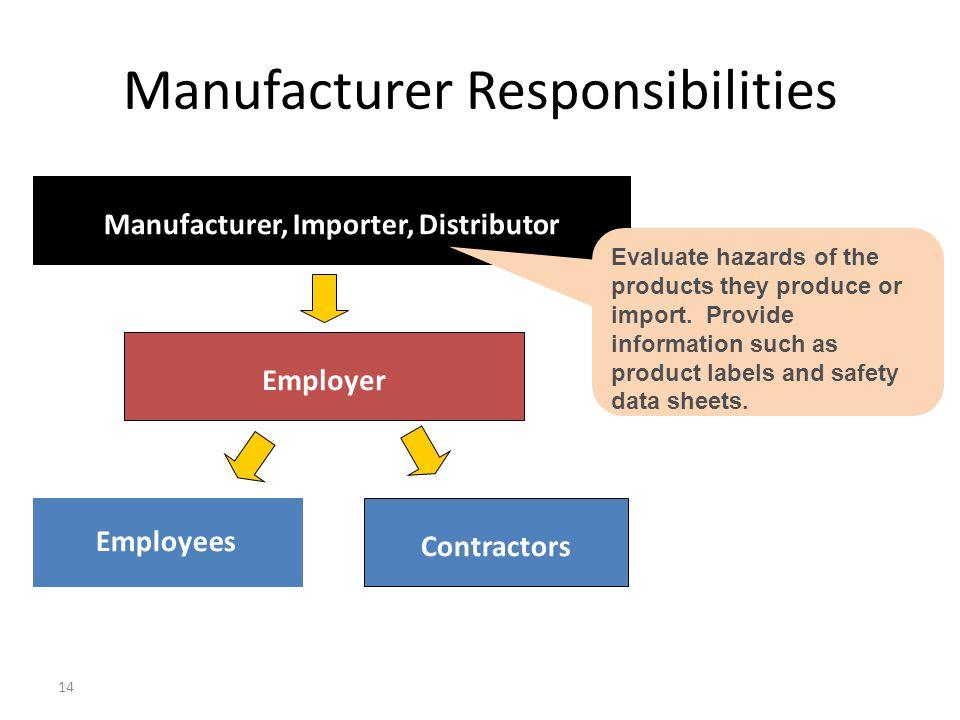 Manufacturer Responsibilities
