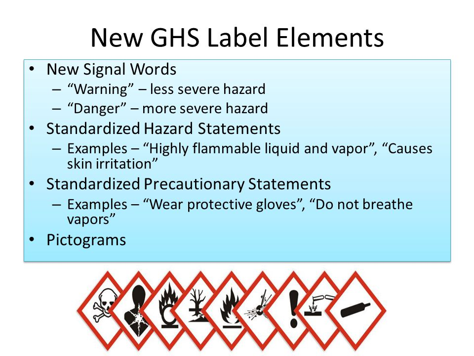 New GHS Label Elements New Signal Words Standardized Hazard Statements