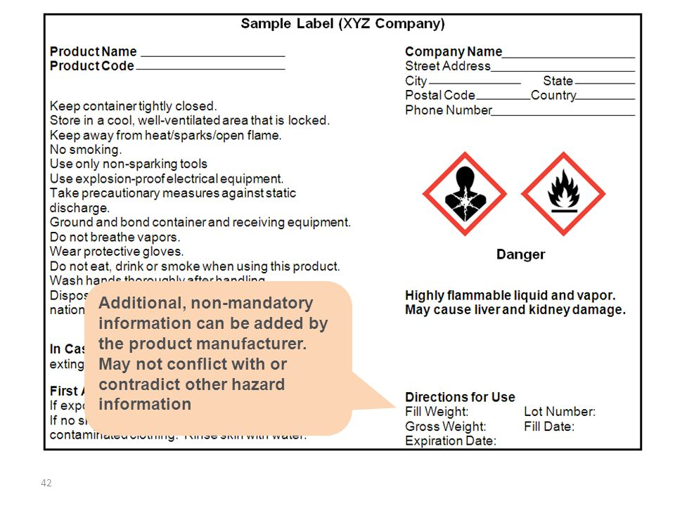 Additional, non-mandatory information can be added by the product manufacturer. May not conflict with or contradict other hazard information