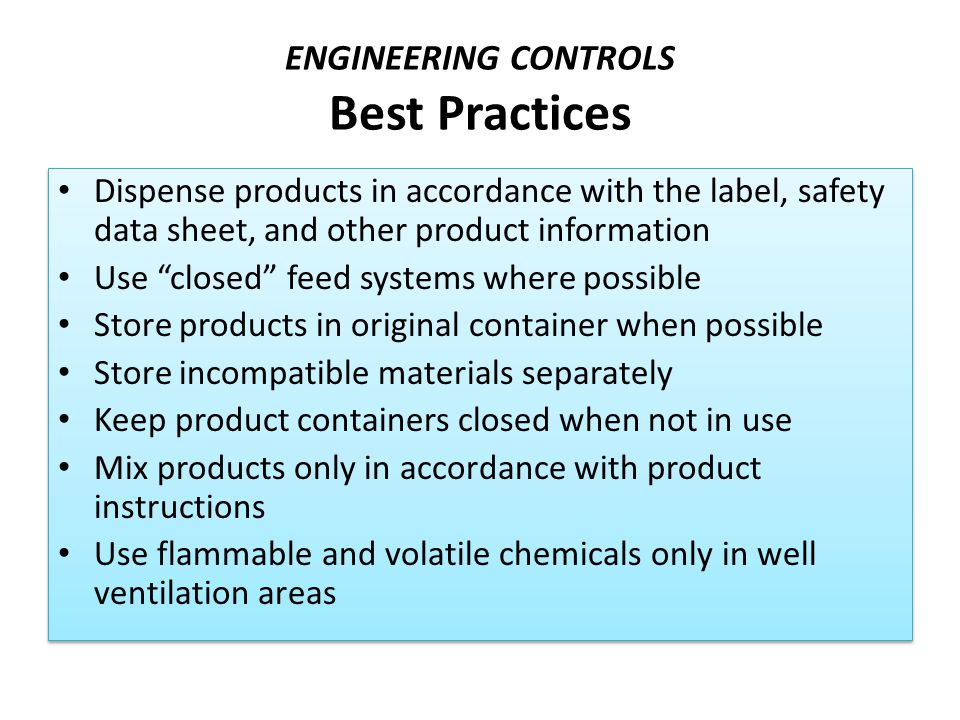 ENGINEERING CONTROLS Best Practices