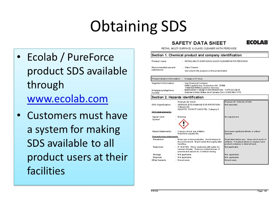 Obtaining SDS Ecolab / PureForce product SDS available through www.ecolab.com.