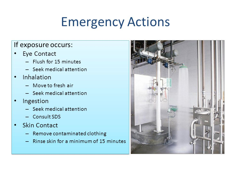 Emergency Actions If exposure occurs: Eye Contact Inhalation Ingestion