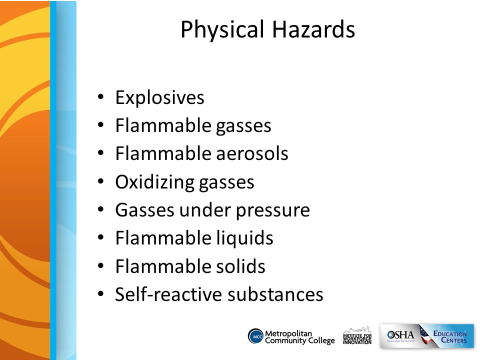 Physical Hazards Explosives Flammable gasses Flammable aerosols