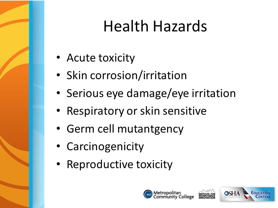 Health Hazards Acute toxicity Skin corrosion/irritation