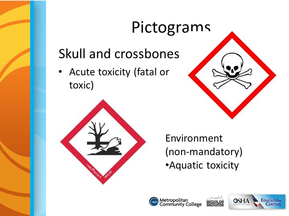 Pictograms Skull and crossbones Acute toxicity (fatal or toxic)