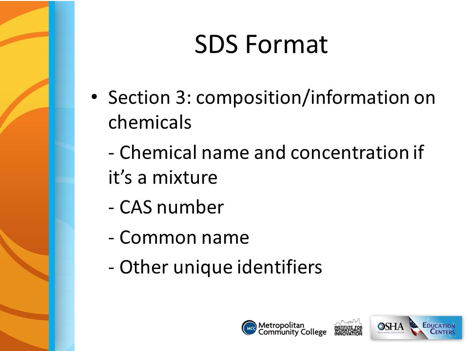 SDS Format Section 3: composition/information on chemicals