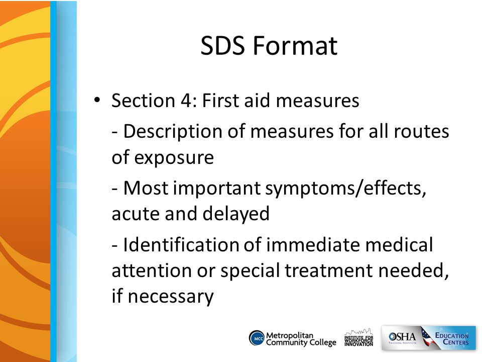 SDS Format Section 4: First aid measures