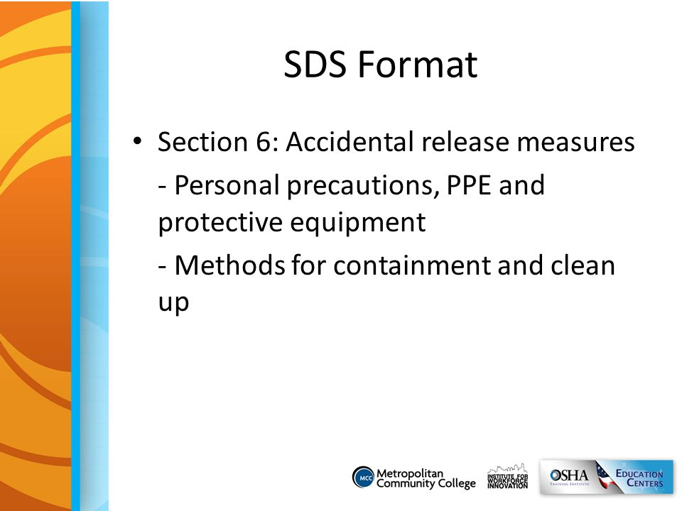 SDS Format Section 6: Accidental release measures