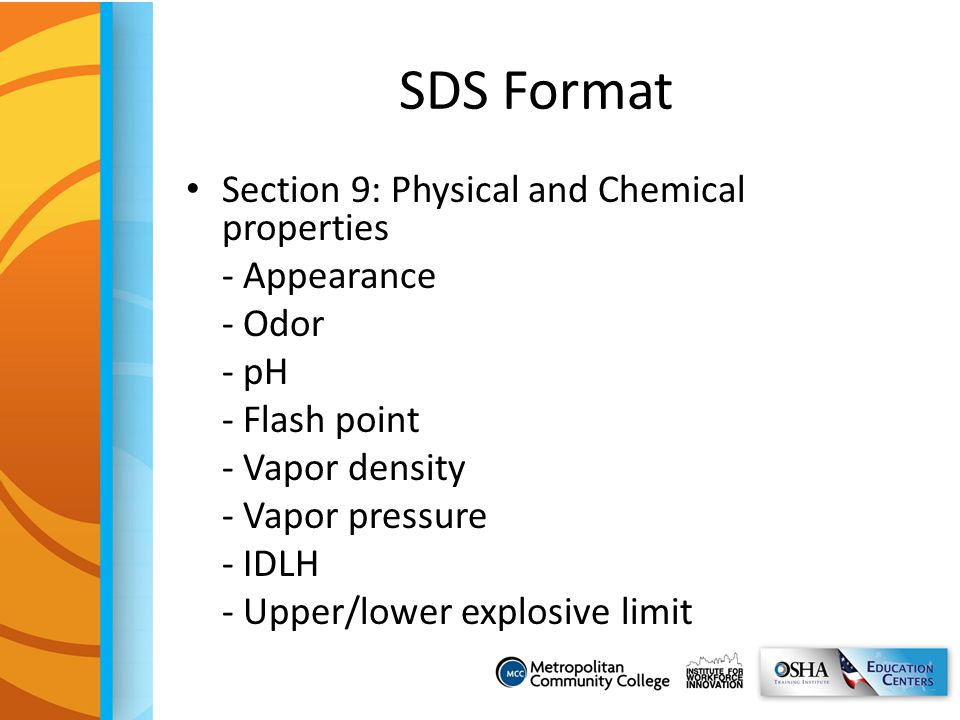 SDS Format Section 9: Physical and Chemical properties - Appearance