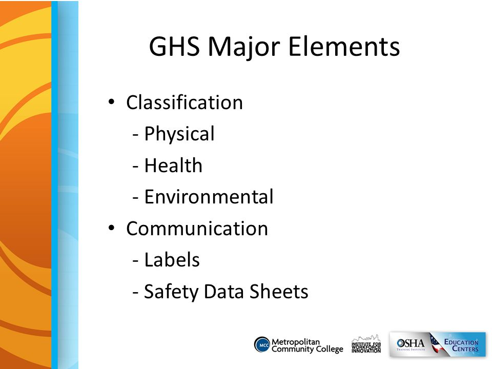 GHS Major Elements Classification - Physical - Health - Environmental