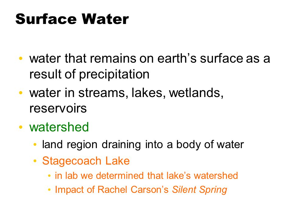 Surface Water water that remains on earth's surface as a result of precipitation. water in streams, lakes, wetlands, reservoirs.