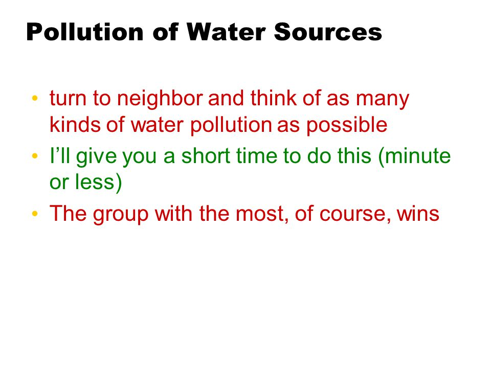 Pollution of Water Sources