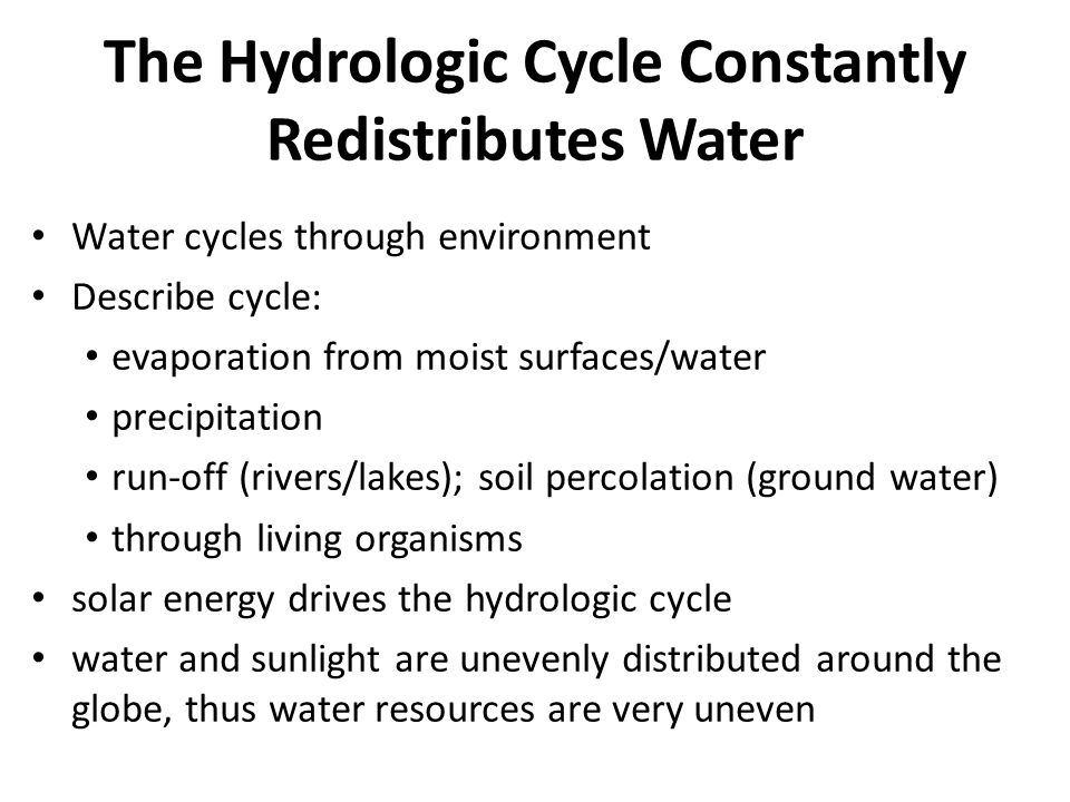 The Hydrologic Cycle Constantly Redistributes Water