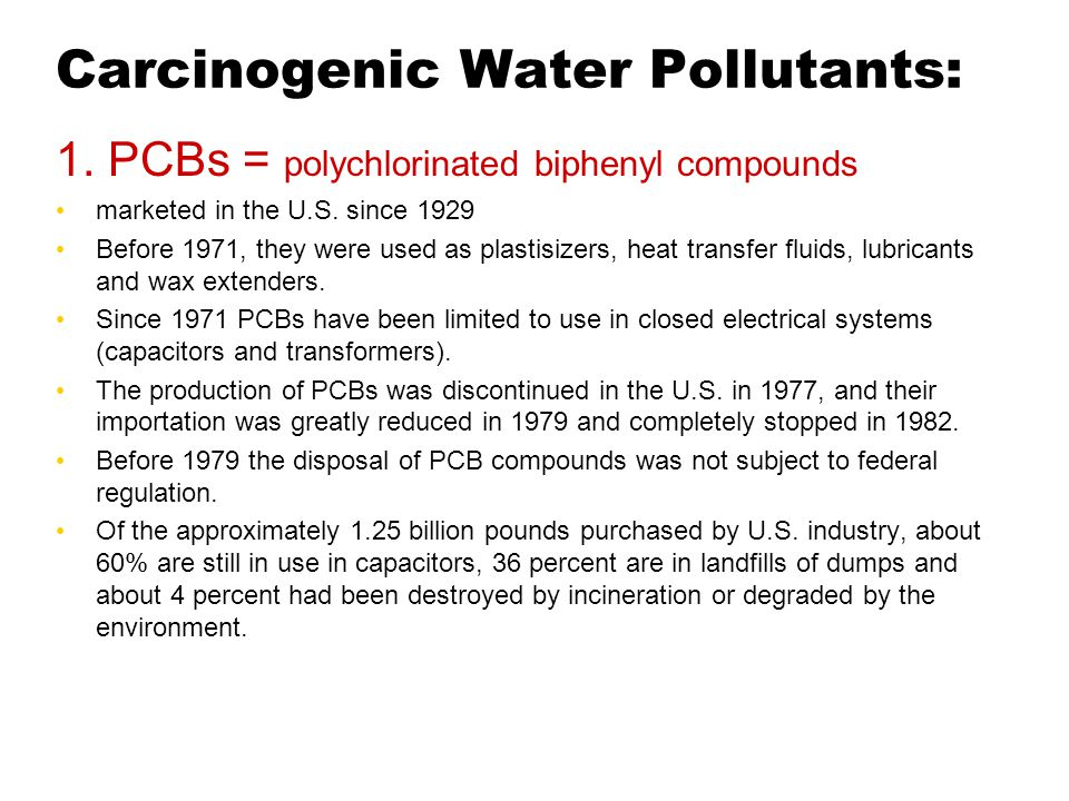 Carcinogenic Water Pollutants: