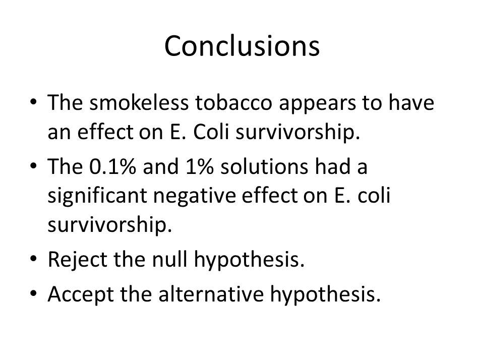Conclusions The smokeless tobacco appears to have an effect on E. Coli survivorship.