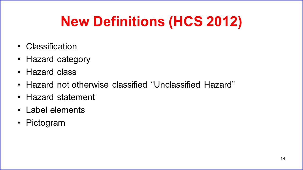 New Definitions (HCS 2012) Classification Hazard category Hazard class
