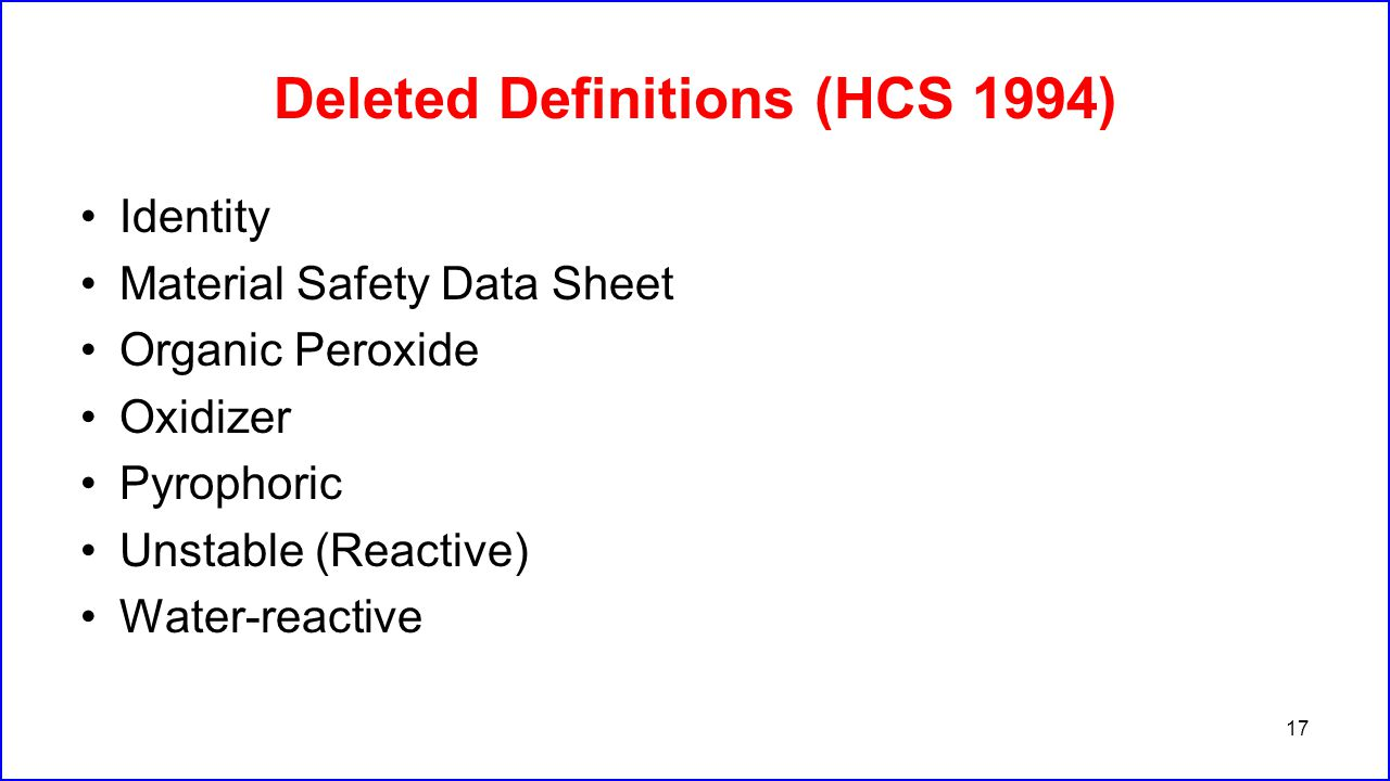 Deleted Definitions (HCS 1994)