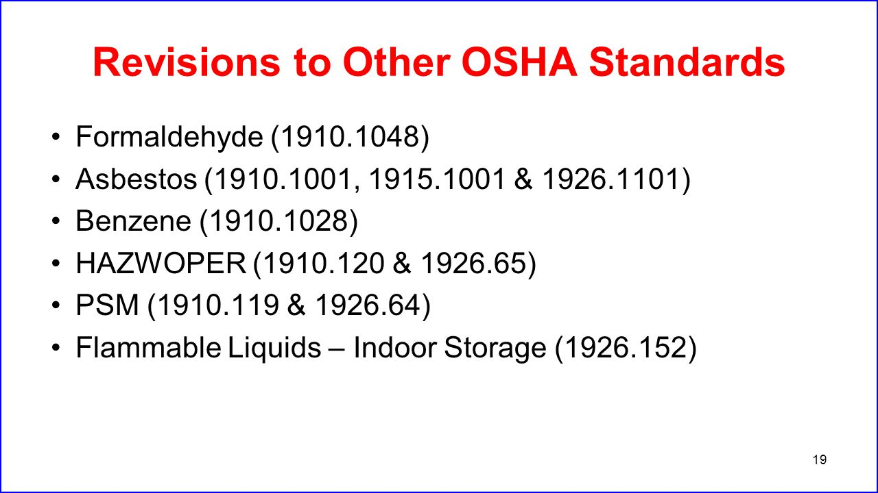 Revisions to Other OSHA Standards