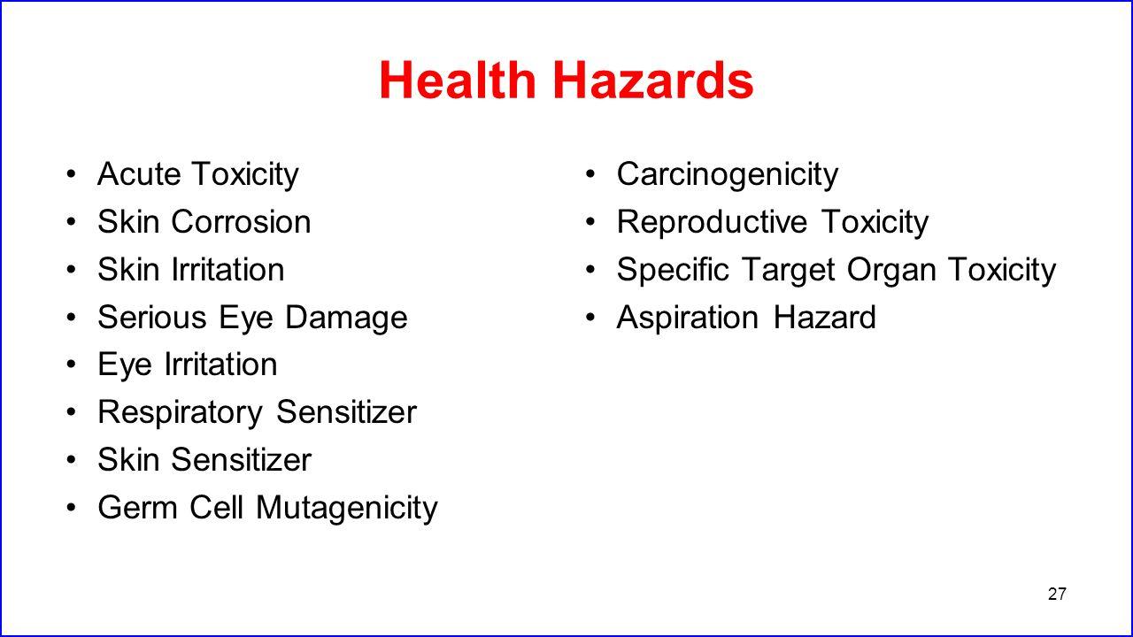 Health Hazards Acute Toxicity Skin Corrosion Skin Irritation