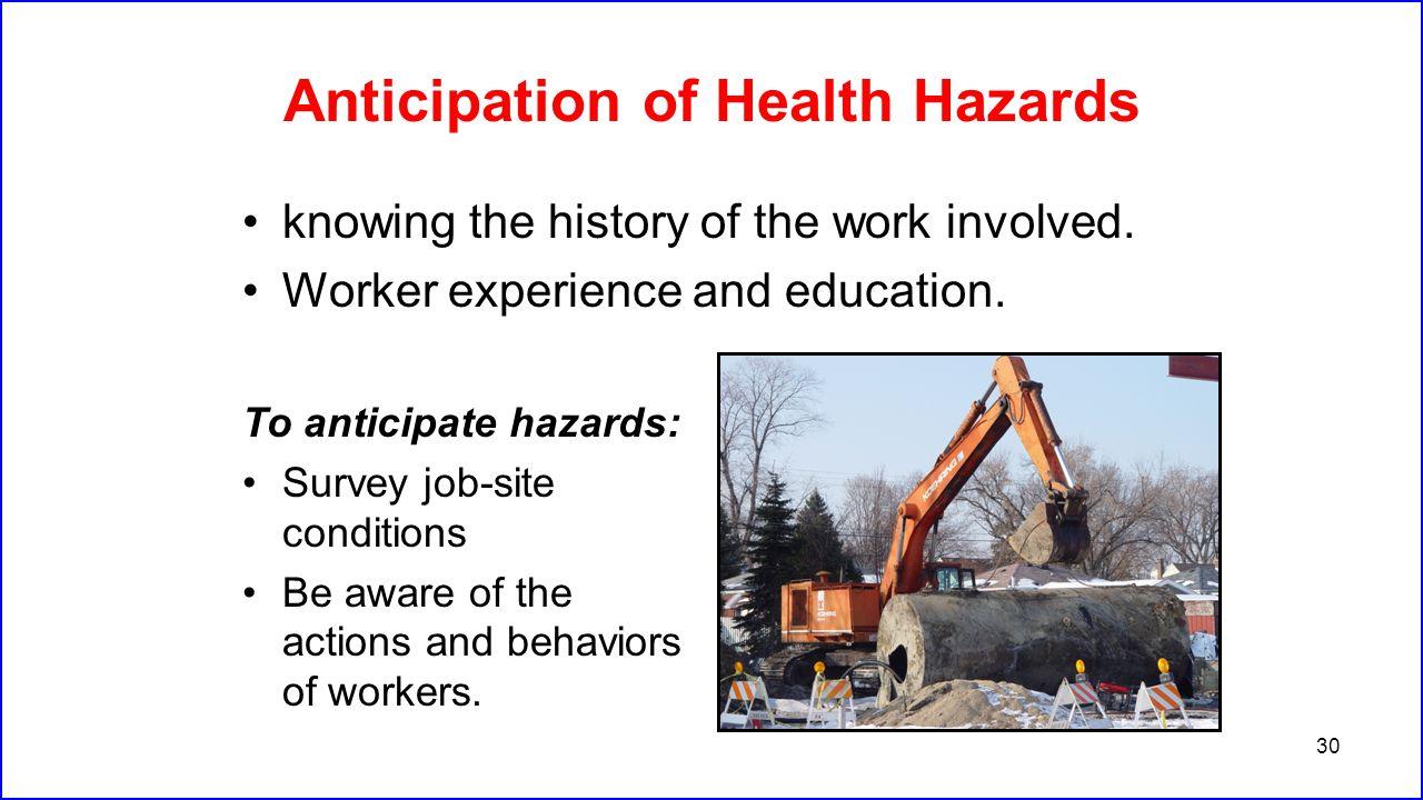 Anticipation of Health Hazards